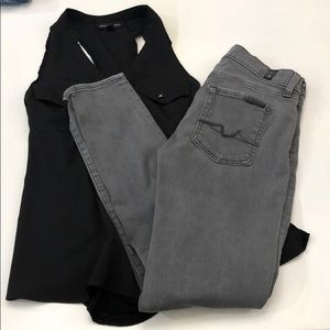 7 for all mankind grey Gwenevere jeans